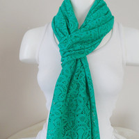 Green scarf, Lace scarf, trendy scarf, long scarf, Spring scarf
