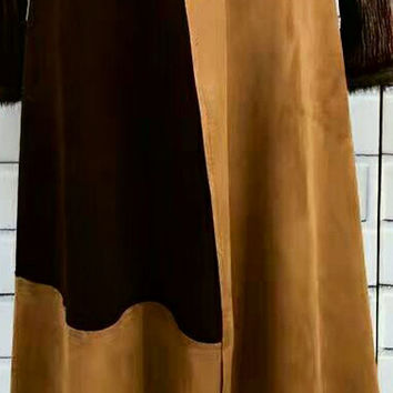 Faux suede patchwork skirts