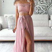 Two Piece Lace Pink Prom Dresses