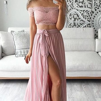 Off Shoulder Lace Chiffon Prom Dresses