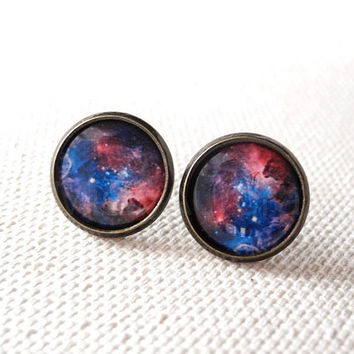 Galaxy Earring Studs - Nebula Earring Posts - Pink Blue Galaxy Earrings - Space Planet Jewelry