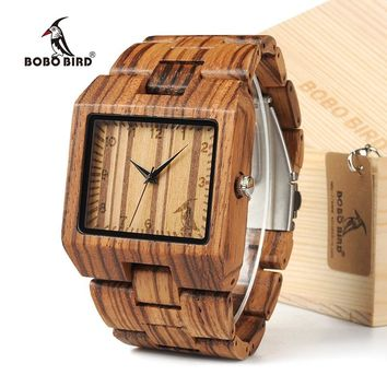 BOBO BIRD Top Brand Luxury High Quality Bamboo Wooden  Wristwatch L24 Men Designed Quartz Watch with Square case in Gift Box