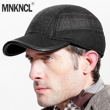Trendy Winter Jacket MNKNCL Thickened Autumn Winter Baseball Cap With Ears Men'S Wool Hat Snapback Hats Ear Flaps For Men Trucker Caps AT_92_12