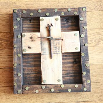 Rustic Crucifix-Rusty Nails-Upcycled Recycled Wood-Metaphysical Art-Art from Trash-Christ Consciousness