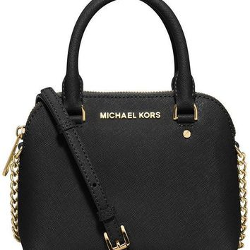 Michael Michael Kors Womens Cindy Leather Satchel Handbag Black Small
