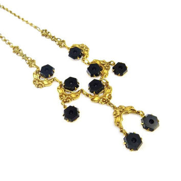 Black Glass Necklace Gold Brass Flower Necklace Victorian Revival Mourning Jewelry Forget Me Not Flowers Vintage1930s Jewelry