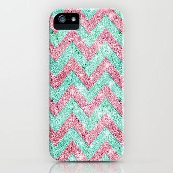 Chevron Pattern, Pink & Teal iPhone Case by productoslocos | Society6