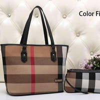 Burberry Women Leather Handbag Tote Shoulder Bag Clutch Bag Set Two-Piece