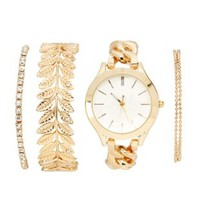 Gold Watch & Bracelet Set - 4 Pack by Charlotte Russe
