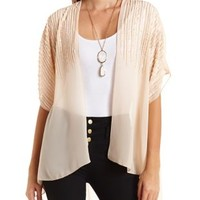 Sequin Trimmed Chiffon Kimono Top by Charlotte Russe - Pearl Blush