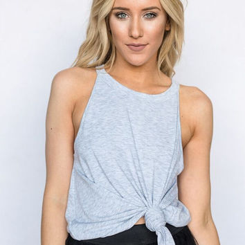 the Starling High Neck Tank In Gray
