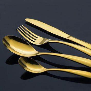 Exquisite Stainless Steel Cutlery Gold Plated Dinnerware Set Luxury Western Style Golden Fork Knife 4 Piece Dinner Set