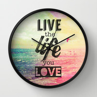 Live Life Love Wall Clock by M Studio