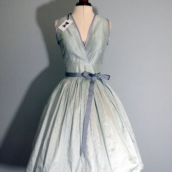 Mint Silk Taffeta Cocktail Dress MADE TO ORDER by makemeadress