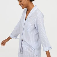 Pajama Shirt and Shorts - White/light blue striped - Ladies | H&M US