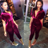 BAT SLEEVE LEISURE DEEP V JUMPSUITS