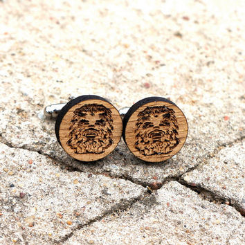 Chewbacca Wooden Cufflinks Star Wars Inspired Cuff Links Groomsmen Accessory Rustic Wood Groom Gift Wedding Cufflinks Gift for Him
