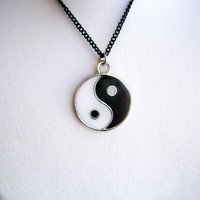Yin Yang Pendant Necklace Black and White with Black Chain