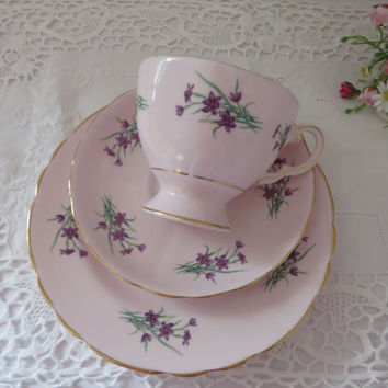 Tuscan vintage 1940's  tea cup and saucer set, Pink teacup, Violets, Tea party set, English garden, Pink tea trio, Floral pink teacup