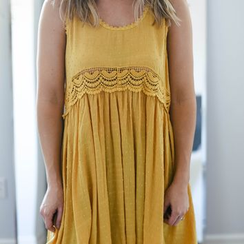 Yellow Polka Dot Crochet Detail Sleeveless Dress