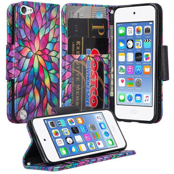 iPod Touch 5 / Ipod Touch 6 Wallet Case, Slim Strap Flip Folio [Kickstand] Pu Leather Wallet Case with ID & Credit Card Slots - Rainbow Flower