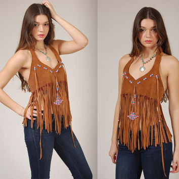 Vintage 70s LEATHER Halter Top Long FRINGE with Beads Boho Festival