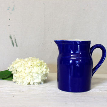 french stoneware pitcher Grespots Digoin, France // vintage french country pitcher vase