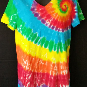 Hand Dyed Bright Spiral Tie Dye Shirt | V Neck