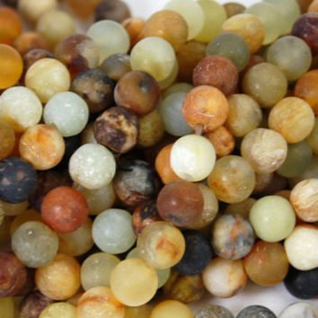 """Matte Xiuyan Jade 6mm round beads """"Antiqued Vintage Look"""" -15 inch strand"""