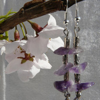Amethyst and Tibetan Silver Dangle Earrings Free Worldwide Shipping