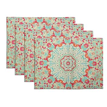 FLY SPRAY Washable Placemats Set of 4 Non-slip Textile Printing Flora Pattern Indian Colorful Cotton Linen Durable Non-fading Ta