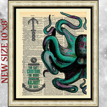 Blue Green Octopus art print on antique book page. Nautical home decor octopus dictionary book page. Wall art poster sail quotation seaside.