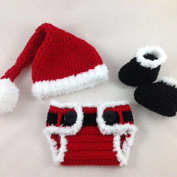 Baby Santa Outfit - Crochet Santa Hat Diaper Cover Set - Baby First Christmas - Newborn - Photography Prop - Baby Boy - Baby Girl