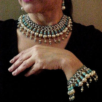 OOAK Vintage Book Chain Egyptian Revival Hollywood Glamour Faux Pearl Aqua Silver Tone Collar Bib Necklace Bracelet Earrings Set