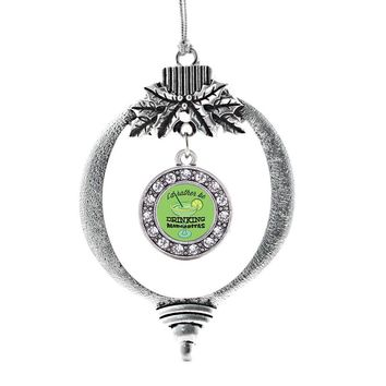 I'd Rather Be Drinking Margaritas Circle Charm Holiday Ornament
