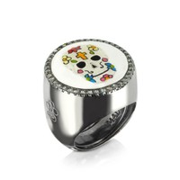 Azhar Designer Rings Calavera Skull Rhodium Plated Sterling Silver Adjustable Ring w/White Cubic Zirconia