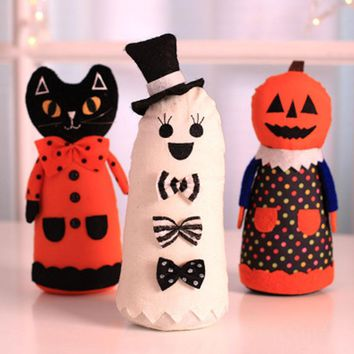 New Halloween Creative DIY Decoration Pumpkin Black Cat White Ghost doll Halloween Decoration Props Party Gift