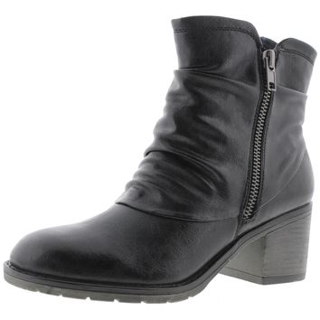 Baretraps Womens Dixey Faux Leather Stacked Heel Ankle Boots