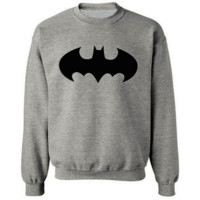 Batman Cartoon Autumn and winter leisure men 's round neck sets of sports sweater Gray