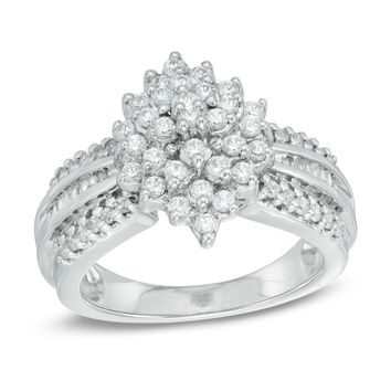 1/2 CT. T.W. Diamond Marquise Cluster Ring in Sterling Silver