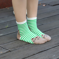 Cute Double-Kitty Striped Socks
