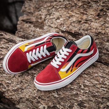 PEAPON Vans Classics Flame Red Low Tops Flats Shoes Canvas Sneakers Sport Shoes
