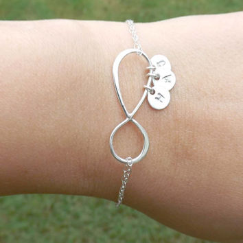 SALE -  Large Infinity bracelet - Personalized Large infinity - birthday, wedding, Mothers Day, friendship - Sterling silver