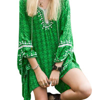 Green Lace Paneled Geo-Print Dress