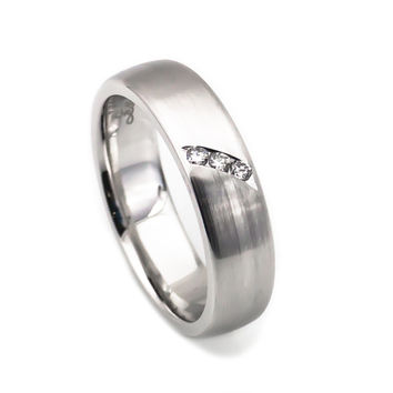 Her 14k white gold three diamonds matte finish ring 5mm