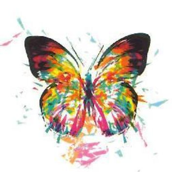 6X6cm Little Colorful Rainbow Butterfly ~Temporary Tattoo Sticker