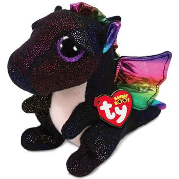 "Pyoopeo Ty Beanie Boos 10"" 25cm Anora the Dragon Plush Medium Soft Big-eyed Stuffed Animal Collectible Doll Toy with Heart Tag"