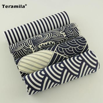 Black and White Color 4 Pieces Cushion Cotton Curtain Fabric Bundle Beautiful Design Bed  Quilting Bedding Lady Dress Sewing Toy