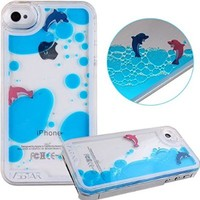 NSSTAR iPhone 5s Case,Liquid Case for iPhone 5S,Case for iPhone 5s,Case for iPhone 5,Hard Case for iPhone 5s,Creative Design Flowing Liquid Dolphins Shell Coconut Trees Hard Case for Apple iPhone 5 5S (Dolphins Shell::Light Blue)