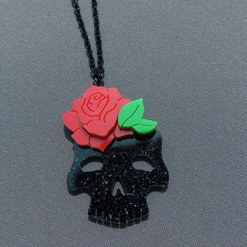 Skull with Rose - Hand Cut